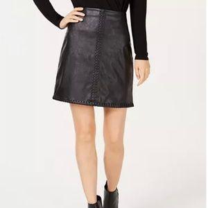 INC Faux Leather Stitched Skirt Black Sz S